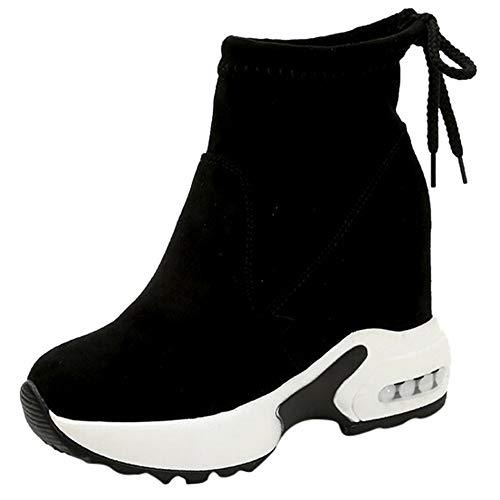 Routinfly Damen Schuhe hohen Absätzen Stiefel Casual Sportschuhe Muffin Plateauschuh Wedges Schnürschuhe Short Boot