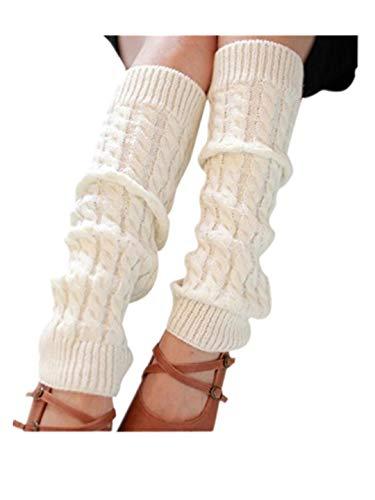 TEBAISE Damen Mädchen Beinwärmer Stulpen Legwarmers Strümpfe Kniestrümpfe Grobstrickstulpen mit Flauschig
