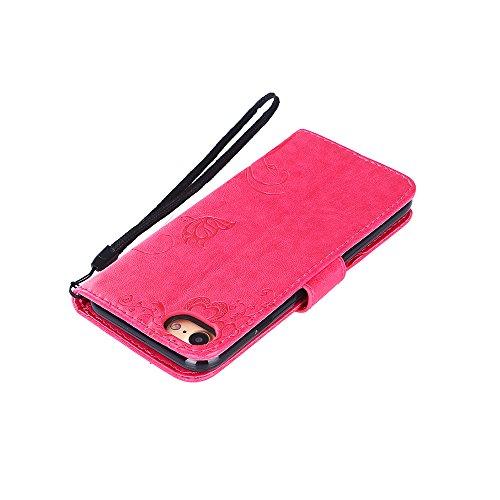 Custodia per iPhone 7 Cover Pelle,SKYXD Colorata Fiore Formica Disegni 3D Morbida Flip Libro PU Pelle Portafoglio Custodia Case per iPhone 7 Guscio Protettivo Coperture Antiurto 360 Protezione Complet Rosa Rosso