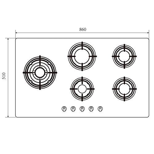 SIA GHG902BL 90cm 5 Burner Black Glass On Gas Hob   Wok Burner   LPG Kit   FFD