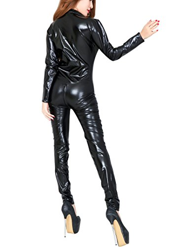 HenMerry Sexy Leatherette Catsuit Clubwear Catsuit Fancy Dress Costume Zip Up Black