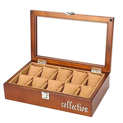 Hcwlxjy Uhrengehäuse 10 Slots Massivholz Uhrenbox Schmuck Display Aufbewahrungsorganisator Luxus Exquisite Glasdeckel Lock für Männer und Frauen Uhr & Schmuck Große Boxen Geschenk, Walnuss Farbe