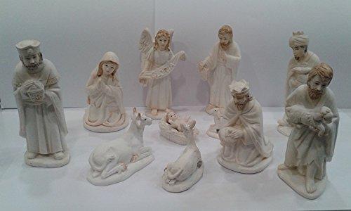 Loving Jesus Natale presepe 11cifre 31/2' bianco resina regalo di Natale.