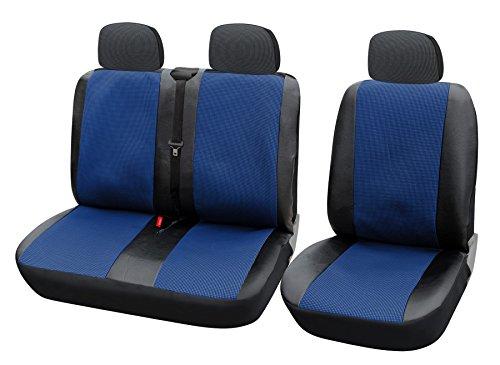 WOLTU AS73251+ 2Cubierta de asiento, fundas para furgoneta o van, universal con piel sintética, negro/azul