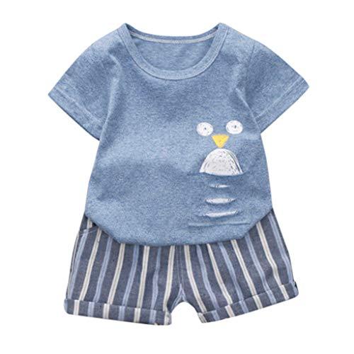 LEXUPE Säugling Baby Jungen Mädchen Kurzarm Cartoon Print Tops + Stripe Short Outfit(Blau-A,90)