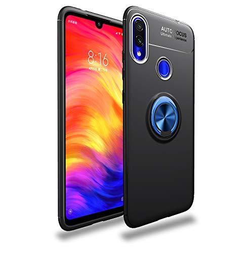 Markest Funda de Teléfono Móvil Inteligente para Xiaomi Redmi Note 7 con de Soporte y Función de Montaje Magnético para Automóvil, Tope a Prueba de Golpes de Moda (Soporte Azul con Cubierta Negra)