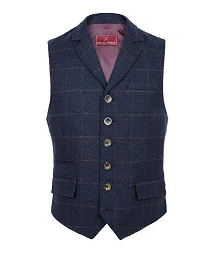 Harvey Parker Herren-Weste Galloway, im Country-Stil, Karo-Muster, Tweed, für Jagd, Schießen, Reiten Gr. XX-Large, navy