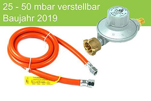 Drehmeister Niederdruckregler 25-50mbar verstellbar 11 stufig + GOK Schlauch 150cm LPG