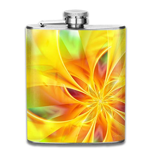 Yellow Flower Hand Bright Fashion Portable 304 Stainless Steel Leak-Proof Alcohol Whiskey Liquor Wine 7OZ Pot Hip Flask Travel Camping Flagon for Man Woman Flask Great Little Gift