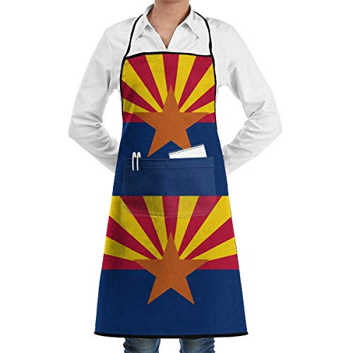 xcvgcxcvasda Einstellbare Latzschürze mit Tasche, Arizona USA State Flag.png Adjusatble Women Kitchen Schürze with and Extra Long Ties, Schürze for Cooking, Baking, Gardening, Crafting, BBQ (Sind 3t Alt Wie)