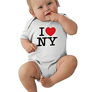 I Love NY New York Short Sleeve Cute Romper Bodysuit Summer Outfit Clothes 0-24 Month White 5