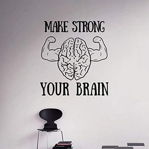 guijiumai Motivation Zitat Machen stark Ihr Gehirn Wall Decal Inspiration Wandaufkleber Sprüche Home Interior Wall Graphics Soft pink 56x60cm