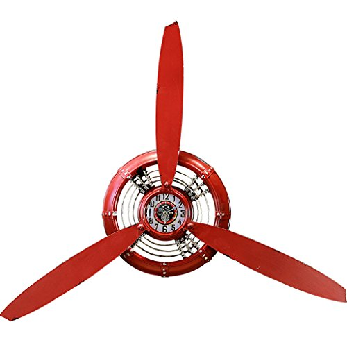 LOFT Industrial Style Wall Clock Ornament Airplane Propeller Iron Wall Decoration Wall Adornment Hanging Wall Decoration (Color: Red, Style: Industrial Retro)