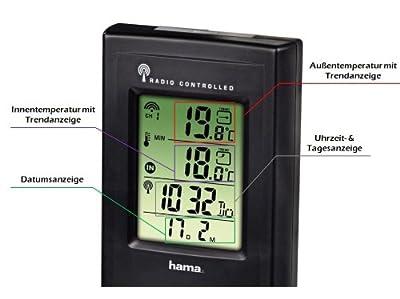 """Hama Funk-Wetterstation """"EWS-165"""" schwarz mit Funkuhr, Wecker und Frostalarm von Hama auf Du und dein Garten"""