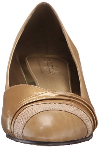 Soft Style by Hush Puppies Women's Danette dress Pump, Black Vitello/Patent, 10 M US New Taupe Vitello/Pearl Patent