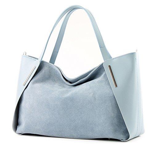 Italiana. Borsa donna shopper tracolla borsa tempo libero Business elegante vera pelle camoscio T126 blu ghiaccio