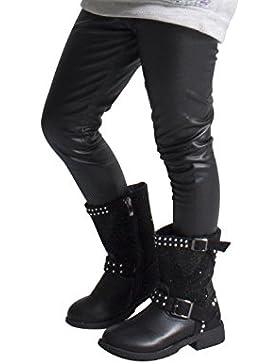 Leggings Termici Bambina | Pantaloni Bimba Effetto Pelle | 4, 6, 8, 10, 12 Anni | Nero | Made In Italy |