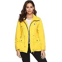 06e838ffb29840 Abollria Damen Regenjacke Leichte Kurze Jacke mit Atmungsaktiv Futter  Herbst Wasserdichte Übergangjacken mit Kapuze