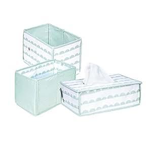 roba Pflege Organiser Set 'Happy Cloud', 3tlg, Aufbewahrungsbox Set, 2 Boxen für Windeln & Wickelzubehör, 1 Dekobox für Feuchttücher, Babyzimmer Deko taupe/mint
