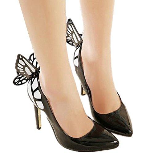 Newbestyle Femme Talon Haut Pointu Talon Mince Avec Décoration Papillon Pour Le Printemps été et L'automne Noir