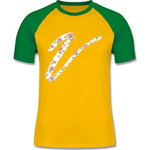 Anfangsbuchstaben - V Rosen - zweifarbiges Baseballshirt für Männer Gelb/Grün