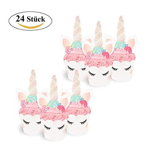 ICheap Einhorn Cake Topper 24 Stücke, Einhorn Cupcake Wrappers Unicorn Kuchen Dekoration für Kinder Geburtstag Party Deko