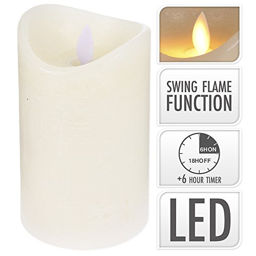 LED Echtwachs-Kerze flackernd mit Timer, 12,5 cm hoch, weiss