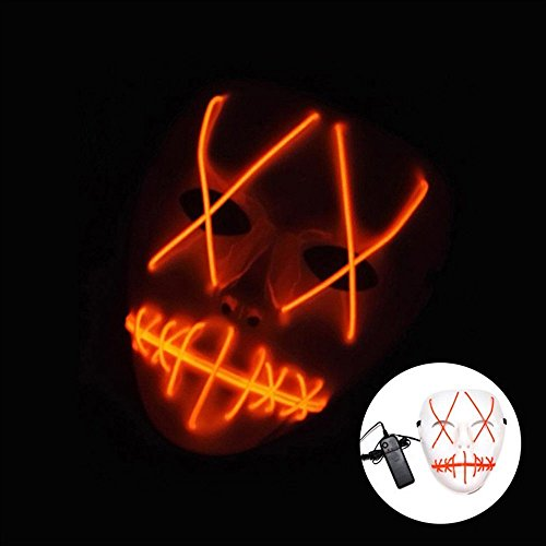 XSRKhome LED Lumineszenz Maske Orange Farbe Ghost Slit Mund Licht Licht für Halloween Leuchten Maske Nicht Enthalten Batterien (1 STÜCKE)