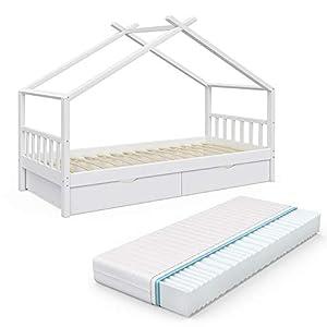 VitaliSpa Kinderbett Hausbett Design 90x200cm INKL SCHUBLADEN Kinder Bett Holz Haus Schlafen Hausbett Spielbett Inkl…