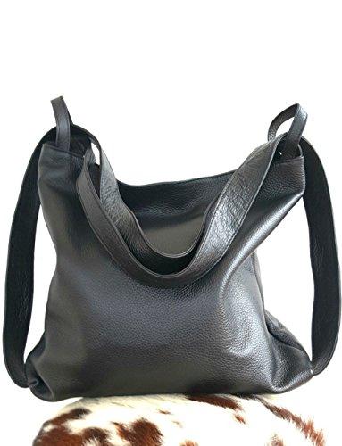 Damen lederrucksack tasche Schwarz handgemacht italenischen