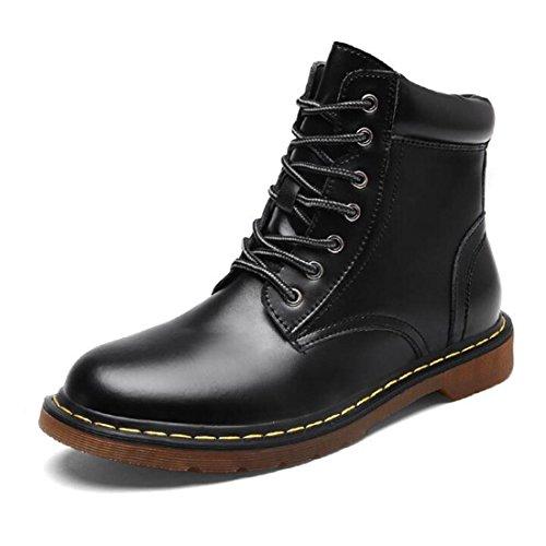 Scarpe da uomo in pelle d'autunno e inverno Scarpe alti da uomo degli uomini britannici Stivali Martin retro black shoes