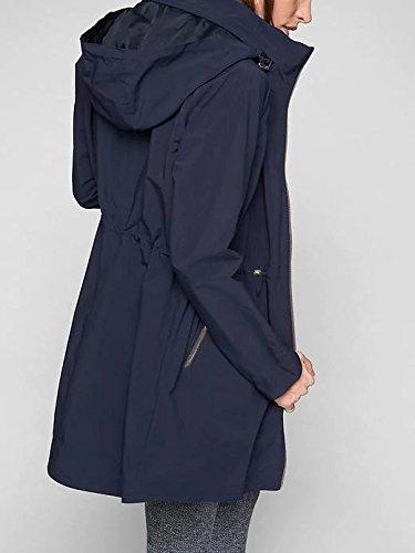 Blooming Jelly Regenjacke mit Kapuze und Taschen: Wasserdichte Übergangsjacke für Damen Blau
