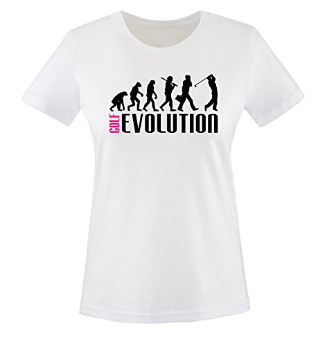 Comedy Shirts - GOLF EVOLUTION II - Damen T-Shirt - Weiss / Schwarz-Pink Gr. XXL (Freiheit-golf-shirt)