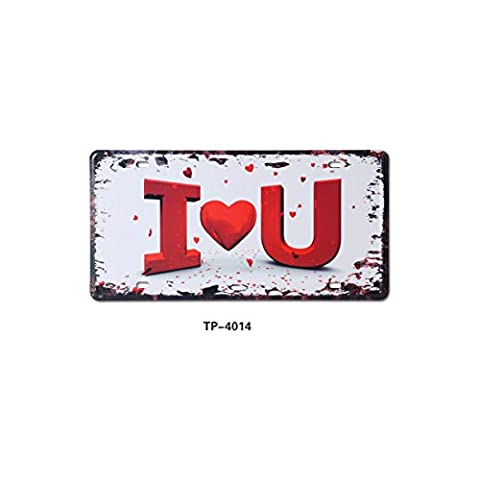 JILIGUALA I Love You Retro Vintage Metal Tin Sign Plaque Auto License Plate for Home,Bathroom and Bar Wall Decor Size 30.5 by 15.5 cm