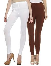 Sakhi Sang Leggings Pack of 2 : White & Chocolate Brown