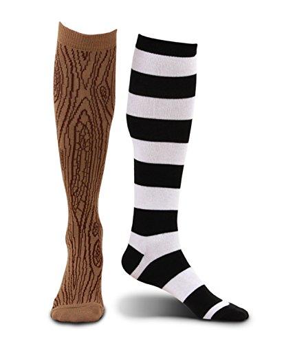 Kniestrümpfe Pirat mit Holzbein und gestreifter Socke für Erwachsene - One Size
