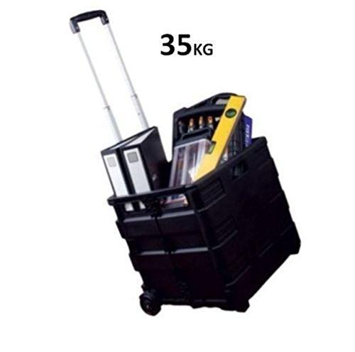 25/35kg Shopper Klappbarer Trolley Speicher Kofferraum Cart Box Box Car Van Camping Weight 35kg Black (Food-styling-tools)