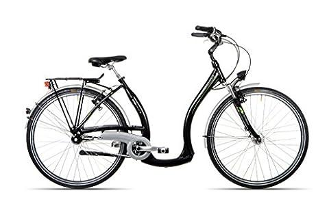 HAWK Bikes Green City Plus Easy-B - Damenfahrrad Fahrrad Damen Citybike mit tiefem Einstieg und 3-Gang Nabenschaltung - Aluminiumrahmen Federgabel (28