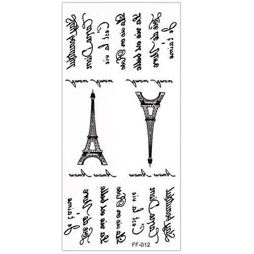 JUSTFOX - Temporäres Tattoo Eiffelturm Carpe diem Design Temporary Klebetattoo Körperkunst (Zeichnung Eiffelturm Leicht)
