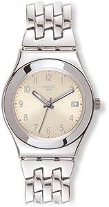 Swatch YLS441G - Reloj analógico de mujer de cuarzo con correa de acero inoxidable plateada de Swatch