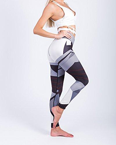 Femmes Sport Pantalons Athlétique d'entraînement Fitness Yoga Leggings Pantalons de Gymnastique Impression numérique Leggings Noir