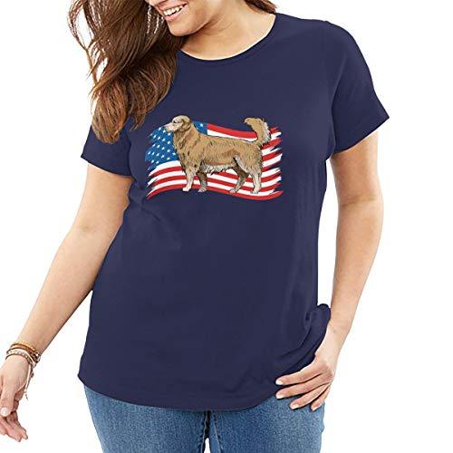 Golden Retriever Dog USA Flagge, Damen T Shirt Baumwolle Tee Tops Freizeithemd Street Wear - Golden Ash Grey-t-shirt