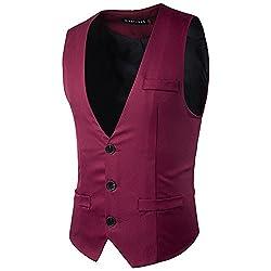 Herren - Anzug, Weste, Alle Männer Mode Farbe Mit Anzug, Weste,rotwein,l