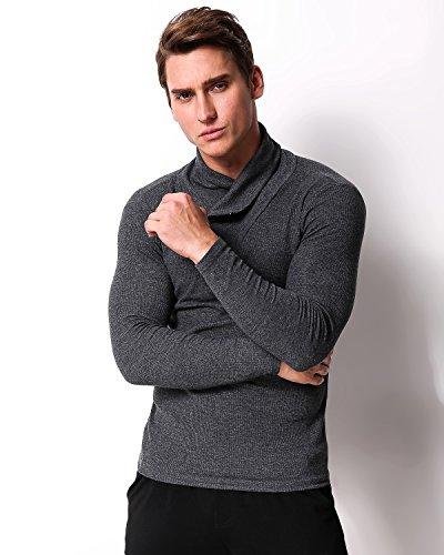 MODCHOK Herren Langarmshirt Sweatshirt Einfarbig Shirt T-Shirt Hoher Hals Zipper Hemd Dunkelgrau