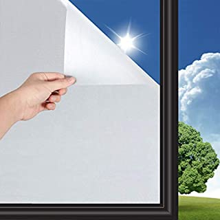 EUROPE HUT Fensterfolie Selbsthaftend Sichtschutzfolie 45x200cm Fenster Blickdicht Milchglasfolie,Anti-UV statisch haftende Folie,für Büro oder Zuhause Matt