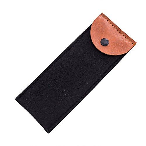(Cdet 1x Flaches Design Einfach Mäppchen Filz Schüler Pen Stifte Leinwand Schutzhülle Tasche Handtasche Kleine Gegenstände/Schreibwaren 7 * 18.5cm (Schwarz))