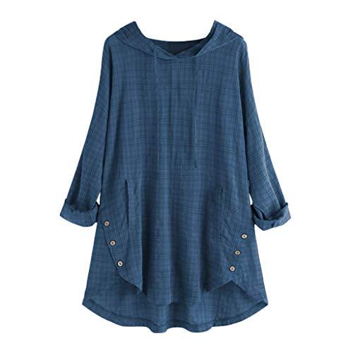 QIMANZI Übergröße Damen Lange Ärmel Kaftan Ausgebeult Taste Bettwäsche aus BaumwolleTunika Bluse(A Blau,L)