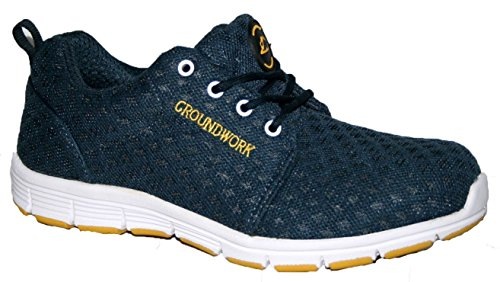 MENS GROUNDWORK STEEL TOE CAP SAFTEY ULTRA LIGHT WEIGHT LACE WORK TRAINER  SHOES NAVY/WHT 11