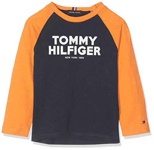 Tommy Hilfiger Baby-Jungen Color Block Raglan Tee L/S Hemd, Blau (Black Iris 002), Herstellergröße:86 (Blaue Tee Raglan)