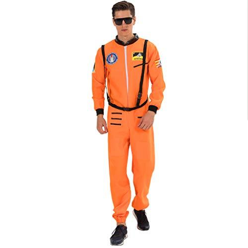 EraSpooky Herren Astronaut Raumfahrer Kostüm Faschingskostüme Cosplay Halloween Party Karneval Fastnacht Kleidung für Erwachsene (Orange Astronaut Overall Für Erwachsene Kostüm Herren)